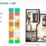 Denah 1BR Apartemen Vasanta InnoPark Cibitung