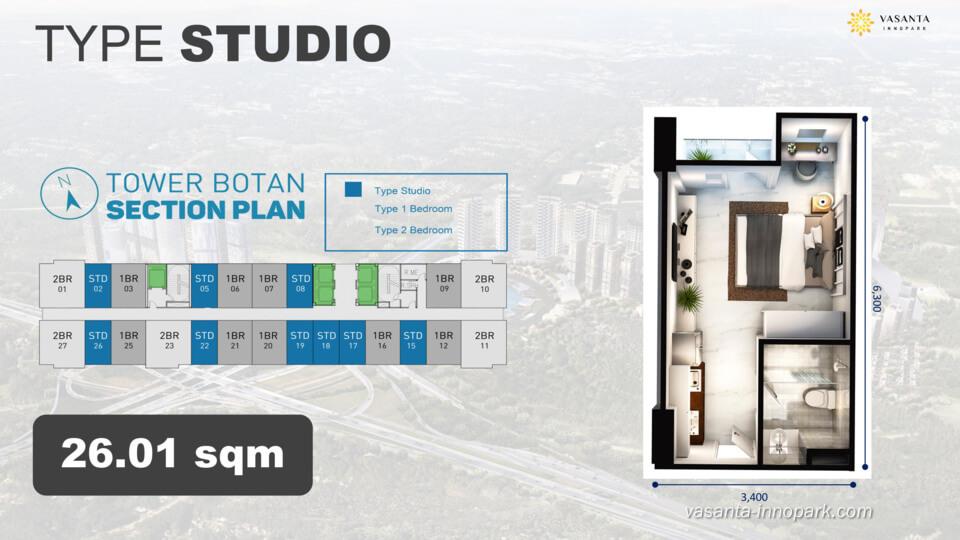 Floor Plan Studio Type Apartemen Vasanta Innopark