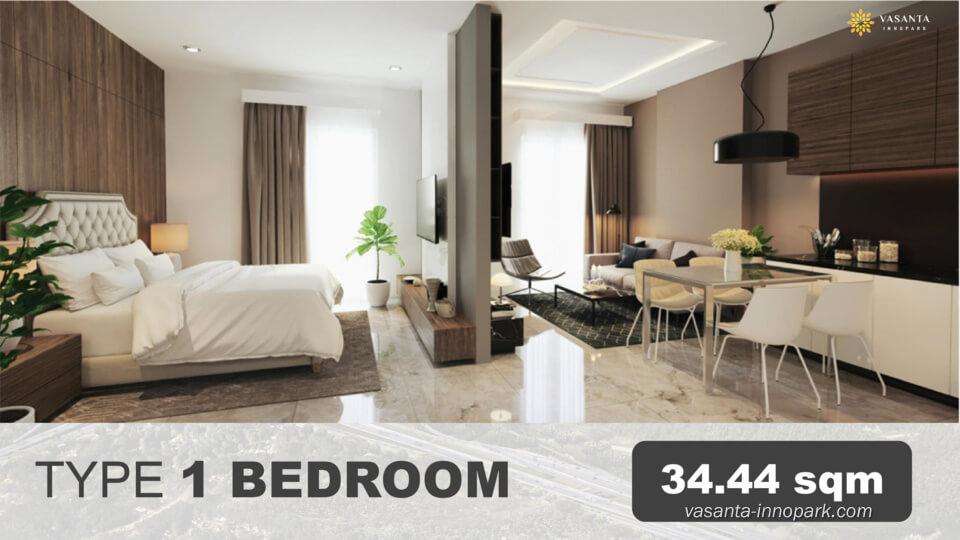 Tipe 1BR Interior Design Apartemen Vasanta Innopark